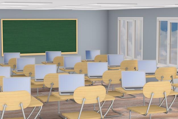 Klassenzimmer der innenschule. 3d-darstellung. zurück zur schule