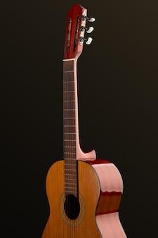 Klassische akustikgitarre, niemand. string-musikinstrument-konzept, live-sound, ausrüstung für musiker, retro-stil