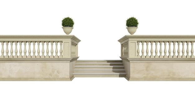 Klassische balustrade mit der treppe lokalisiert auf weißem hintergrund