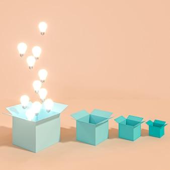 Klassische beleuchtete glühlampen, die aus eine box herauskommen