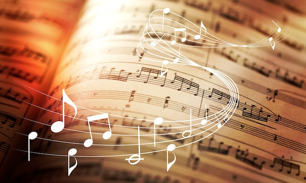 Klassische blätter mit musiknotenzeichen