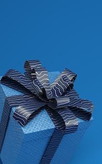 Klassische blaue präsentkartons, die in der illustration der wiedergabe 3d mit musterband frei schweben. trendfarbe von 2020