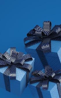 Klassische blaue präsentkartons, die in der luft schweben, die illustration mit musterband überträgt. trendfarbe von 2020