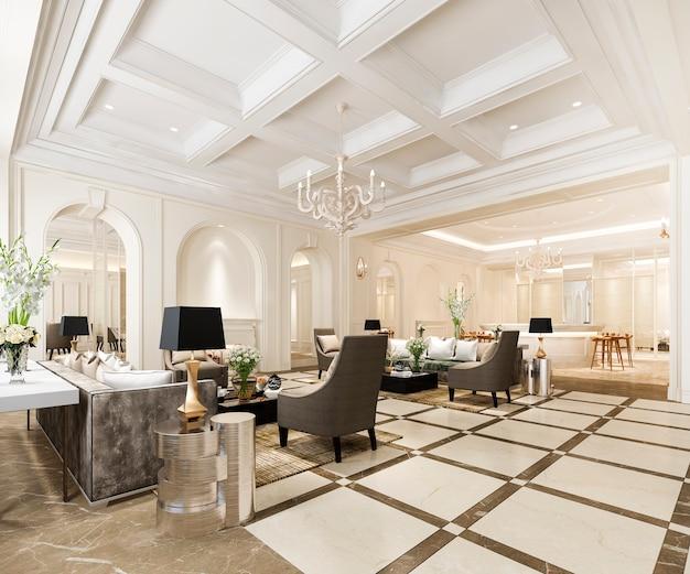 Klassische empfangshalle und büro des luxushotels mit dekorregal