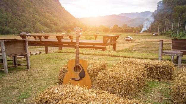 Klassische gitarre, die vor der natur als hintergrund liegt