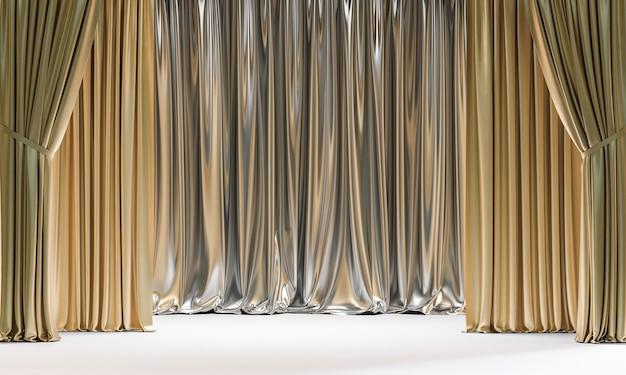 Klassische gold- und silberfarbene vorhänge