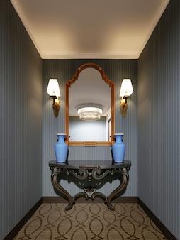 Klassische holzkonsole mit spiegel in goldrahmen an der wand und dekorativen blauen vasen. 3d-rendering.