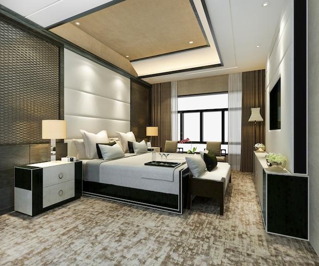 Klassische luxus-schlafzimmersuite im hotel mit fernseher