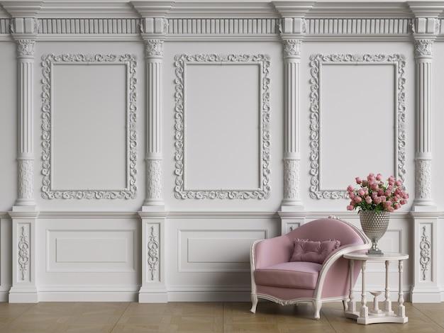 Klassische möbel in klassischem interieur mit kopierraum. wände mit verzierten formteilen. bodenparkett. digitale illustration. 3d-rendering