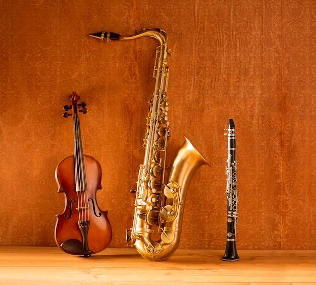 Klassische musik sax-tenorsaxophon-violine und vintage-klarinette