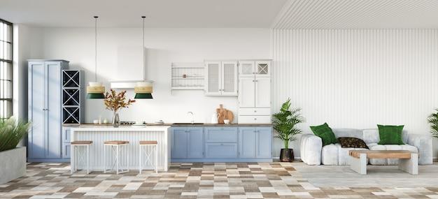 Klassische offene küche mit holzmöbeln und weißen wänden 3d-rendering