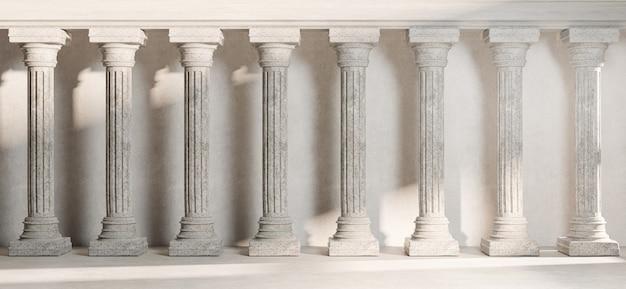 Klassische säulensäulenkolonade klassische architektur banner realistisches 3d-rendering