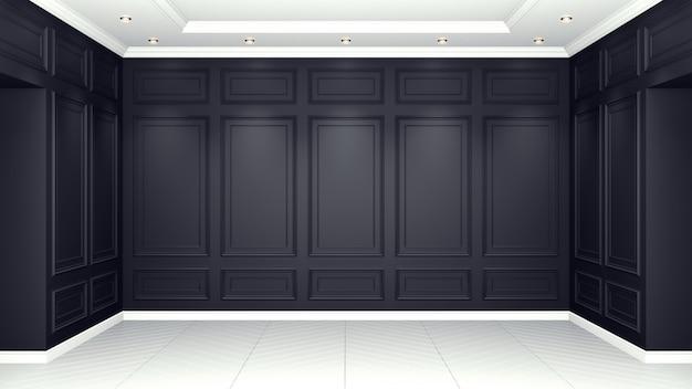 Klassische schwarze lebende innenwiedergabe des studios 3d. leerer raum für ihre montage.