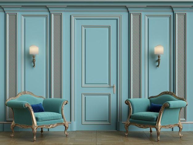 Klassische sessel im klassischen interieur mit platz zum kopieren