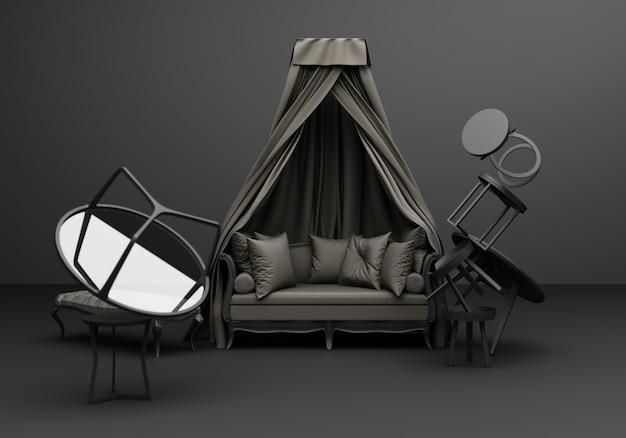 Klassische sofa-sessel-spaßkomposition der grauen möbel auf 3d-rendering des schwarzen hintergrunds
