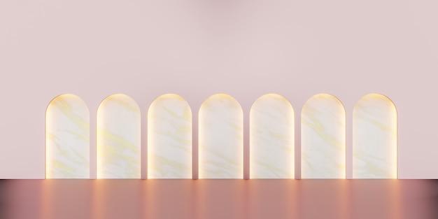 Klassische szene im retro-stil mit produktständer 3d-illustration