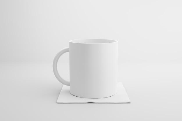 Klassische weiße tasse und stoffuntersetzer auf weißem hintergrund mit leerem schablonenmodellstil. leere tasse oder getränkebecher. 3d-rendering.