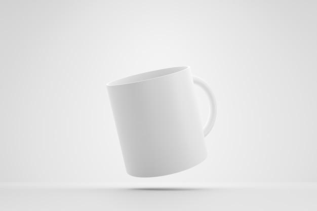 Klassische weiße tasse und vorderansicht levitation auf weißem hintergrund mit leerem schablonenmodellstil. leere tasse oder getränkebecher. 3d-rendering.