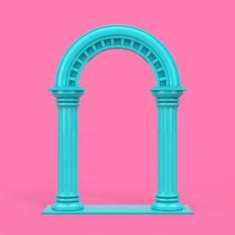 Klassischer blauer antiker griechischer säulenbogen im duotone-stil auf rosafarbenem hintergrund. 3d-rendering