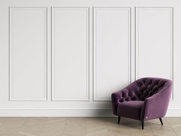 Klassischer büscheliger lehnsessel im klassischen innenraum mit kopienraum. weiße wände mit leisten. boden parkett fischgrät. 3d-rendering