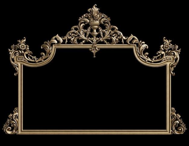 Klassischer goldener rahmen mit verzierungsdekor auf schwarzer wand