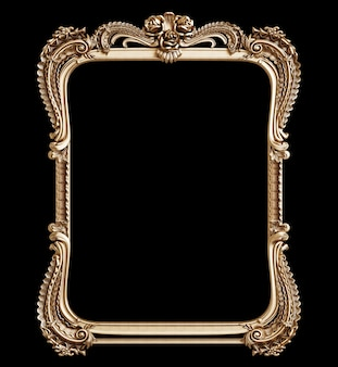 Klassischer goldener rahmen mit verzierungsdekor lokalisiert auf schwarzem hintergrund. digitale illustration. 3d-rendering