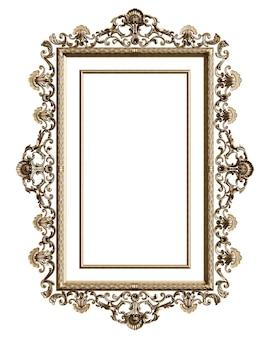 Klassischer goldener rahmen mit verzierungsdekor lokalisiert auf weißem hintergrund. digitale illustration. 3d-rendering