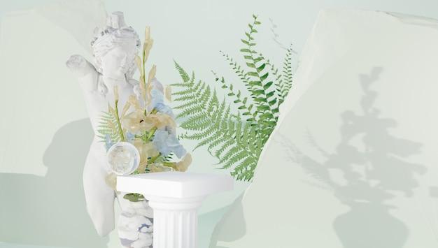 Klassischer griechischer hintergrund mit blumen und marmorschnitzereien für die produktpräsentation verschwommener hinterg...