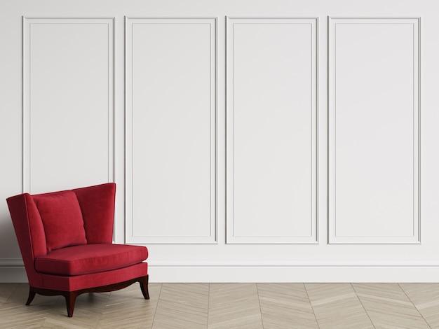 Klassischer lehnsessel im klassischen innenraum mit exemplarplatz. weiße wände mit leisten. boden parkett fischgrät. 3d-rendering