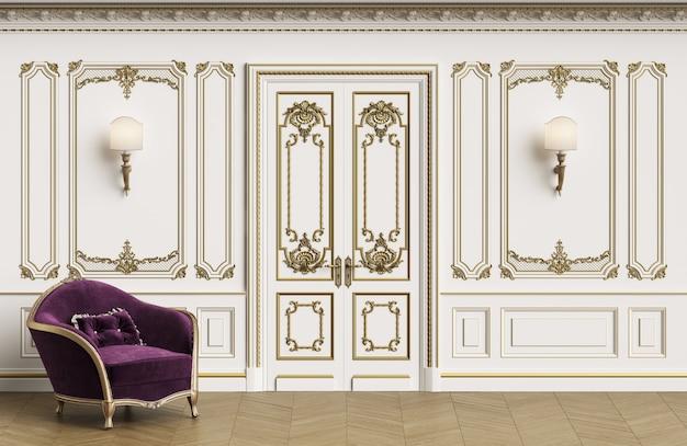 Klassischer lehnsessel im klassischen innenraum mit exemplarplatz