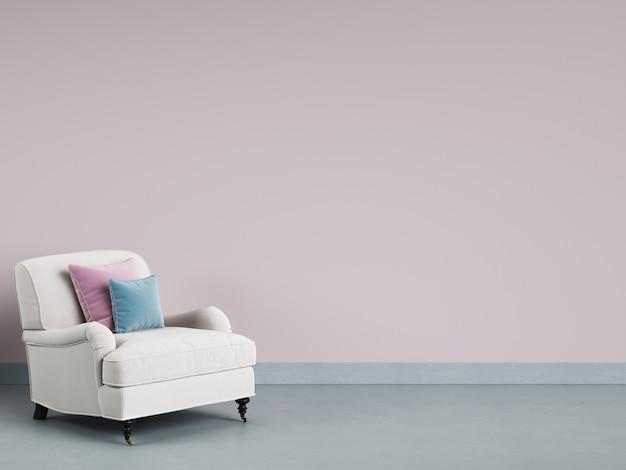 Klassischer lehnsessel im leeren raum. rosa wand, blauer boden, pastellgamma. 3d-rendering