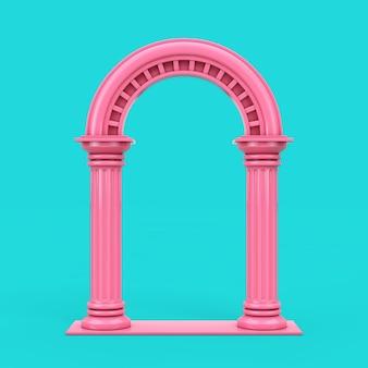 Klassischer rosa altgriechischer säulenbogen im duotone-stil auf blauem hintergrund. 3d-rendering