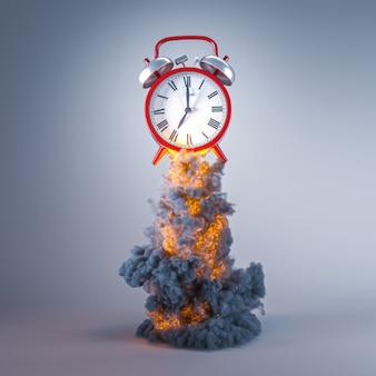 Klassischer roter wecker mit flammen und rauch. konzept der dringlichkeit, zeit vergeht. 3d-rendering.
