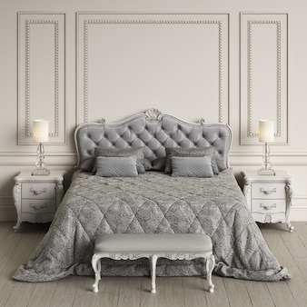 Klassischer schlafzimmerinnenraum mit kopienraum. modell. digitale illustration. 3d-rendering