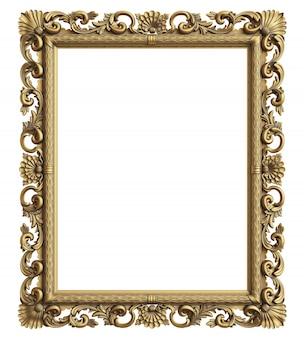 Klassischer spiegelrahmen auf weißem hintergrund