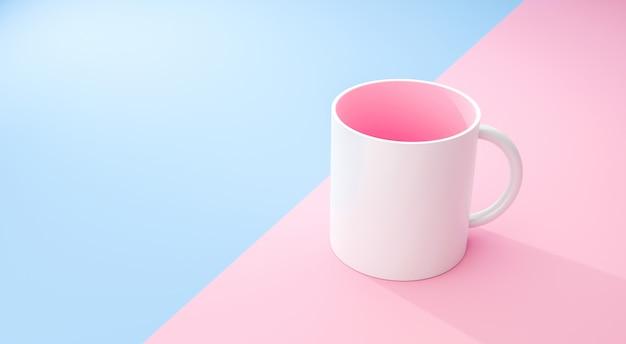 Klassischer weißer becher und rosa innen auf pastell-sommerhintergrund mit leerem schablonenmodellstil. leere tasse oder getränkebecher. 3d-rendering.