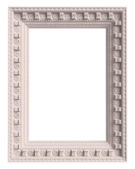 Klassischer weißer rahmen mit verzierungsdekor lokalisiert auf weißem hintergrund. digitale illustration. 3d-rendering