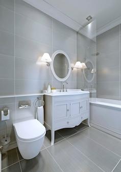 Klassisches badezimmer in grauer farbe