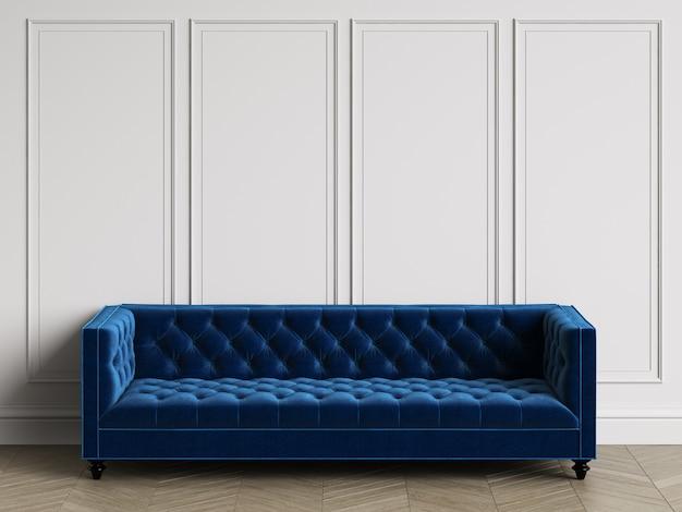 Klassisches büscheliges sofa im klassischen innenraum mit kopienraum. weiße wände mit leisten. boden parkett fischgrät. 3d-rendering