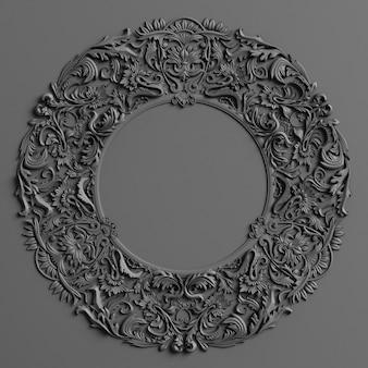 Klassisches dekor mit ornamentdekor in schwarzer farbe an der schwarzen wand
