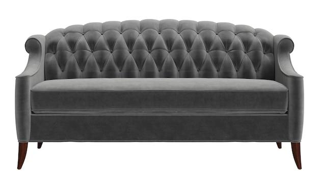 Klassisches getuftetes sofa lokalisiert auf weißem hintergrund. digitale illustration. 3d-wiedergabe