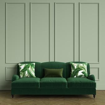 Klassisches grünes sofa, kissen mit tropischem blattdruck, der im klassischen innenraum steht. olive farbe wände mit leisten, boden parkett eiche herringbone. 3d-rendering