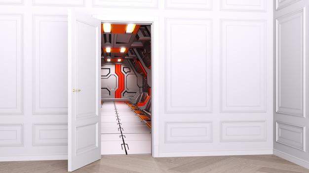 Klassisches helles interieur mit futuristischem science-fiction-interieur des raumfahrzeugs. konzept aus der vergangenheit in die zukunft.