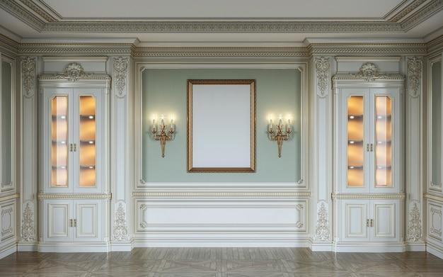 Klassisches interieur in olivfarben mit holzwänden, vitrinen, wandlampen und rahmen. 3d-rendering.