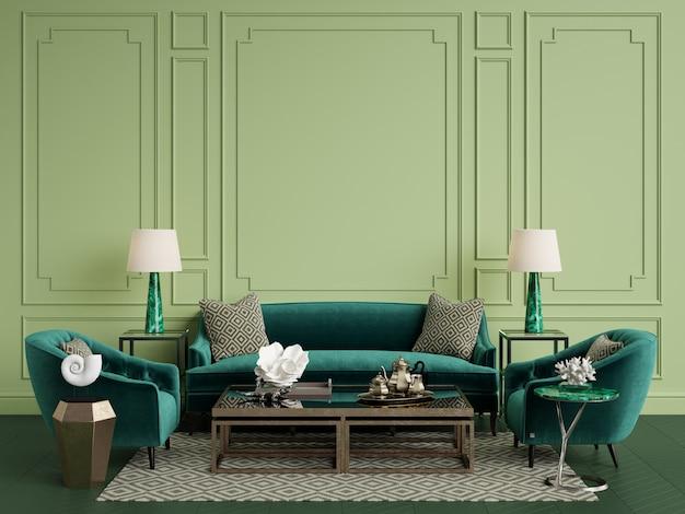 Klassisches interieur mit kopierraum. grüne gamma.3d abbildung