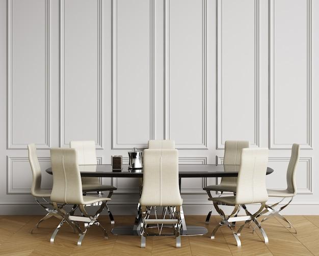 Klassisches interieur mit tisch und stühlen. weiße wände mit zierleisten, parkettfußboden. kopieren sie platz. 3d-rendering