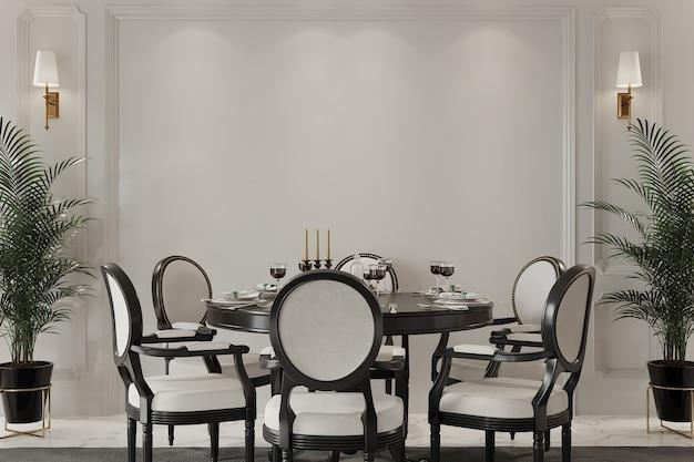 Klassisches interieur mit tisch und stühlen