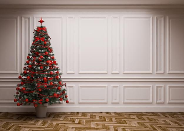Klassisches interieur mit weihnachtsbaum