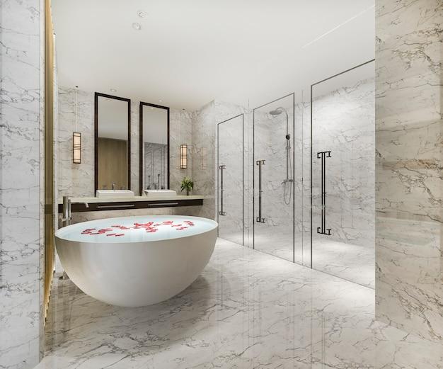 Klassisches modernes badezimmer der 3d-wiedergabe mit luxusfliesendekor