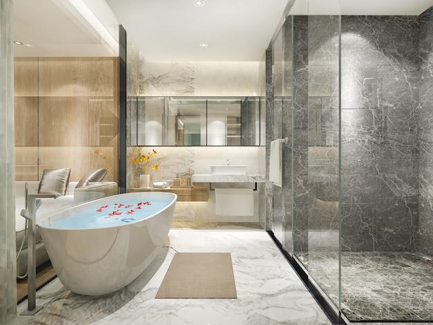 Klassisches modernes badezimmer der wiedergabe 3d mit luxuriösem fliesendekor